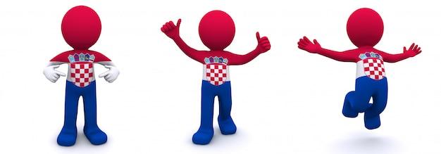 3d персонаж текстурированный с флагом хорватии