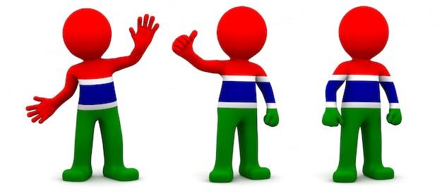 3d персонаж текстурированный с флагом гамбии