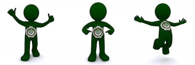 3d персонаж текстурированный с флагом лиги арабских государств