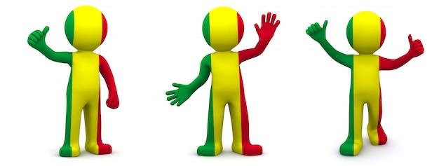 3d персонаж текстурированный с флагом мали