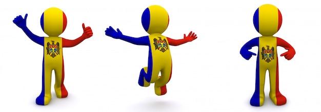 モルドバの旗を持つテクスチャ3 dキャラクター