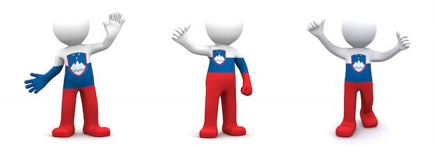 スロベニアの旗のテクスチャの3 dキャラクター