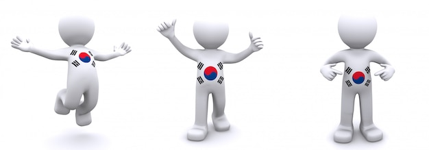 3d character textured with  flag of south korea