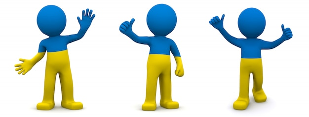 3d character textured with flag of ukraine