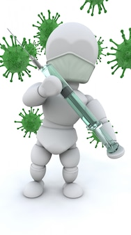 3d character with green bacteria