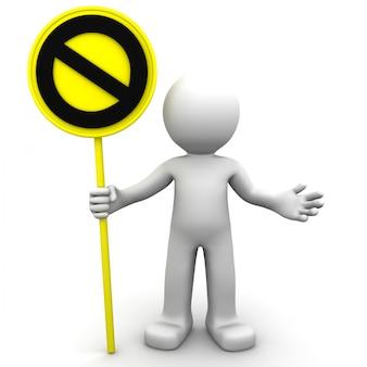 黄色の一時停止の標識で3 dキャラクター