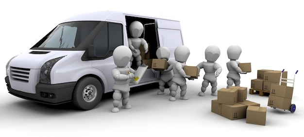 3d characters with boxes and a van