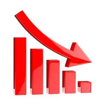 3d 차트 아이콘 화살표 아래쪽 빨간색 막대