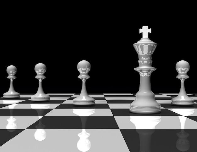 3d шахматный король и пешка. концепция лидера