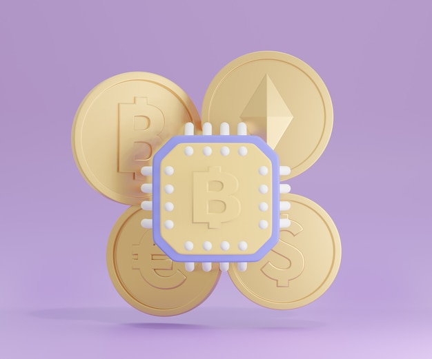 3d chip with gold coin on purple background.  3d illustration rendering.