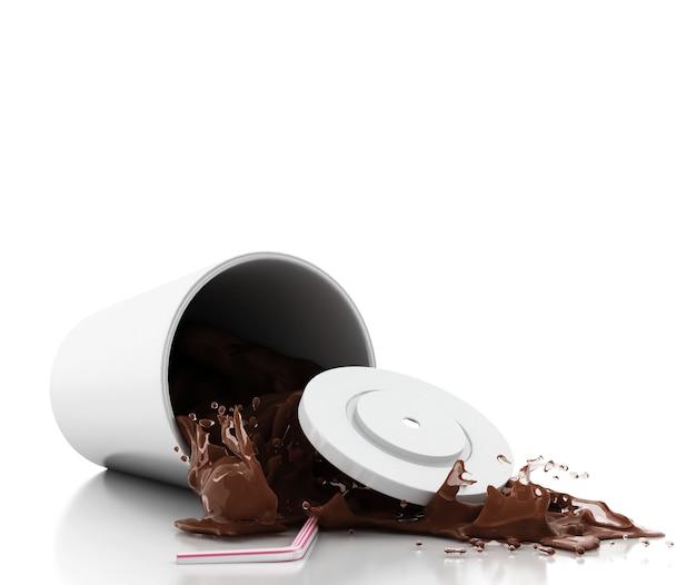 3d chocolate milk splashing out of glass