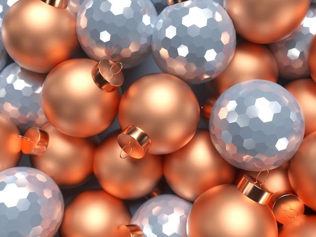 装飾的なボールと3dクリスマスの背景。メリークリスマス、そしてハッピーニューイヤー。 3dレンダリングのイラスト。