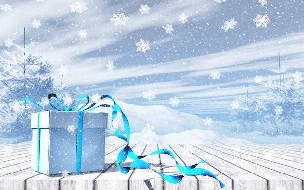 3d christmas background with gift on wooden table against snowy landscape