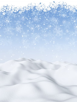 3d christmas background with snowy scene