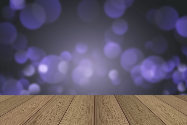 ボケの光を見渡す木製のテーブルと3dクリスマスの背景