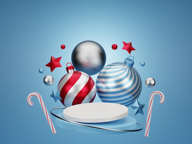 3d christmas balls and candy cane and stars on floating blue podium