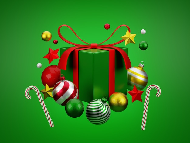 3d christmas balls and candy cane and stars on floating green gift