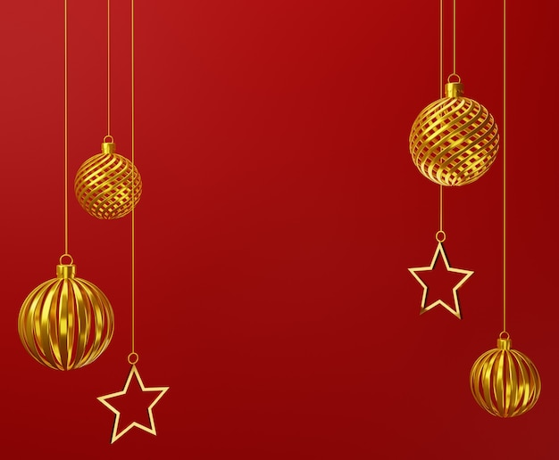 3d christmas balls ornament and stars on red background