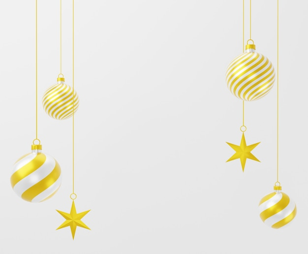 3d christmas balls ornament and stars on white background