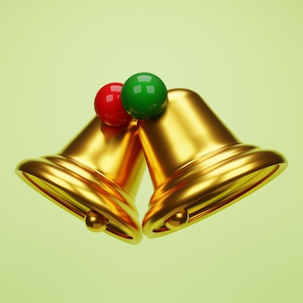 3d christmas bell with christmas balls on green background