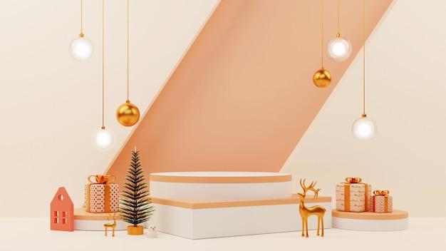 Элемент рождественского фестиваля 3d, как рождественская елка, золотой олень, снеговик, безделушки и пустой подиум или иллюстрация сцены.