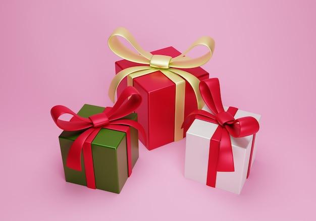 3d рождественский подарок группа на розовом фоне