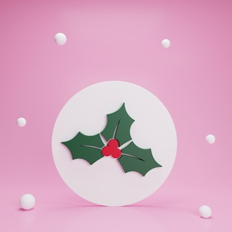 3d christmas holly plant and snow on pink background