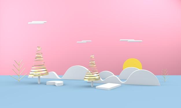 3d christmas landscape on sunny day