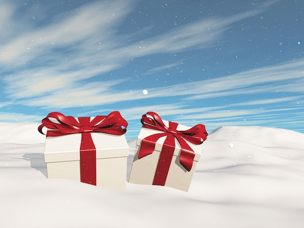 3d christmas landscape with gifts nestled in snow