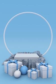 3dクリスマス、年末年始の青い表彰台または台座、クリスマスボール、ギフトボックス、丸いアーチのある製品や広告の背景。縦のポスター、バナー、パンフレット、モックアップの冬のコンセプト。