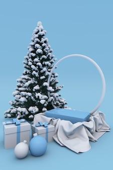 雪に覆われたクリスマスツリー、ボール、ギフトボックス、丸いアーチと製品の背景の3dクリスマス新年休日青い表彰台台座。縦のポスター、バナー、モックアップの冬のコンセプト。