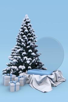 雪に覆われたクリスマスツリー、ボール、ギフトボックスと製品の背景のための3dクリスマス新年休日青い表彰台台座。縦のポスター、バナー、モックアップの冬のコンセプト。