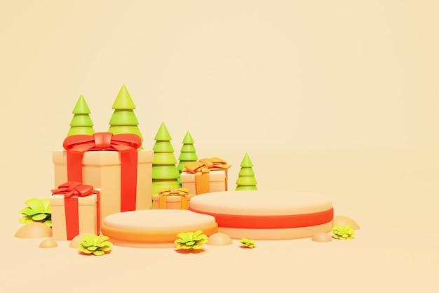 3dクリスマス表彰台またはクリスマスセールの背景