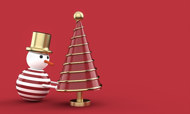 3d christmas postcard wallpaper with snowman .merry christmas concept . 3d illustration. 3d rendering