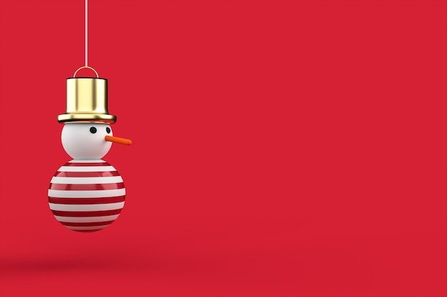 3d christmas postcard wallpaper with snowman .merry christmas concept .