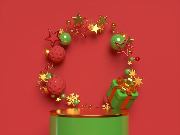 表彰台のある3dクリスマスシーン