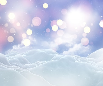3D Christmas snowy landscape