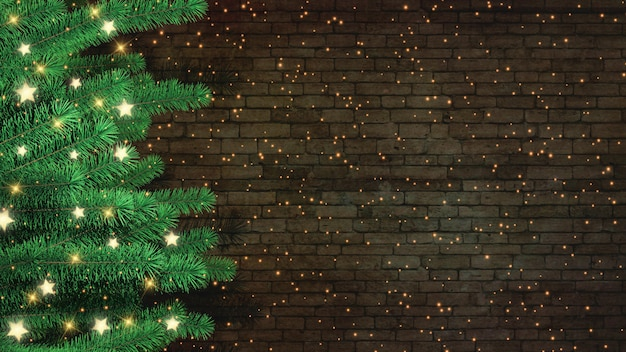 3d christmas tree against a brick wall background