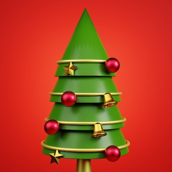 3d christmas tree and balls and stars on red background