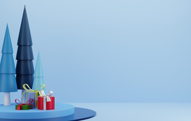 3d christmas tree and gift on blue podium