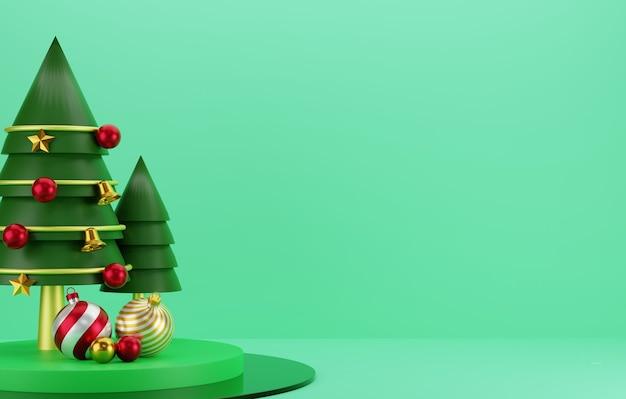 3d christmas tree and gift on green podium