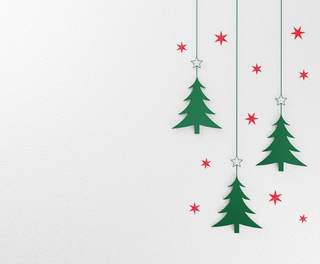 3d christmas tree and stars on white background