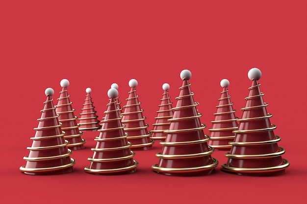 3d christmas trees on red surface