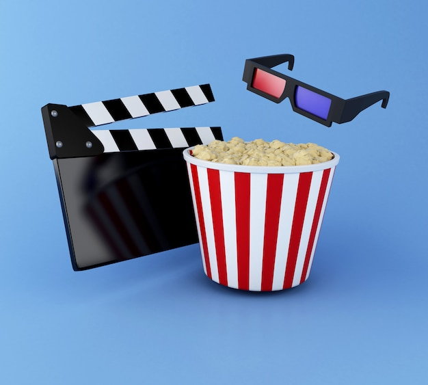 3d cinema clapper board, popcorn and 3d glasses.