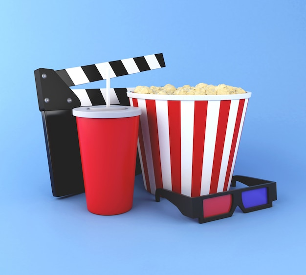 3d cinema clapper board, popcorn, drink and 3d glasses.