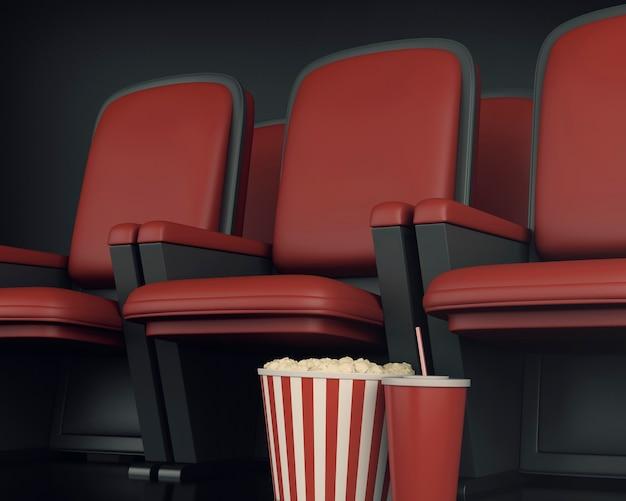 3d cinema clapper board и попкорн на театре.