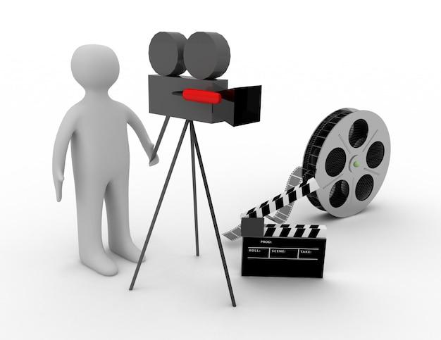 3d. концепция кино на белом фоне