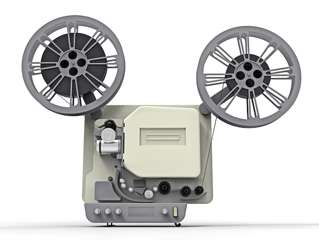 3d cinema film projector isolated on white background. 3d rendering.