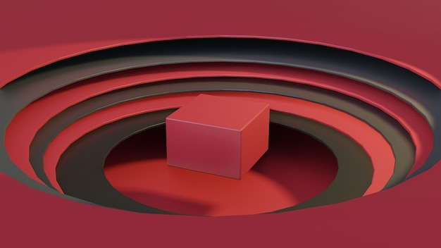 큐브 연단과 3d 원형 papercut 스타일