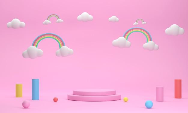3d. круглый подиум, радуга в небе для демонстрации симпатичных товаров.
